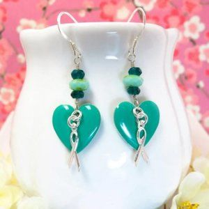 Cervical cancer turquoise heart earrings